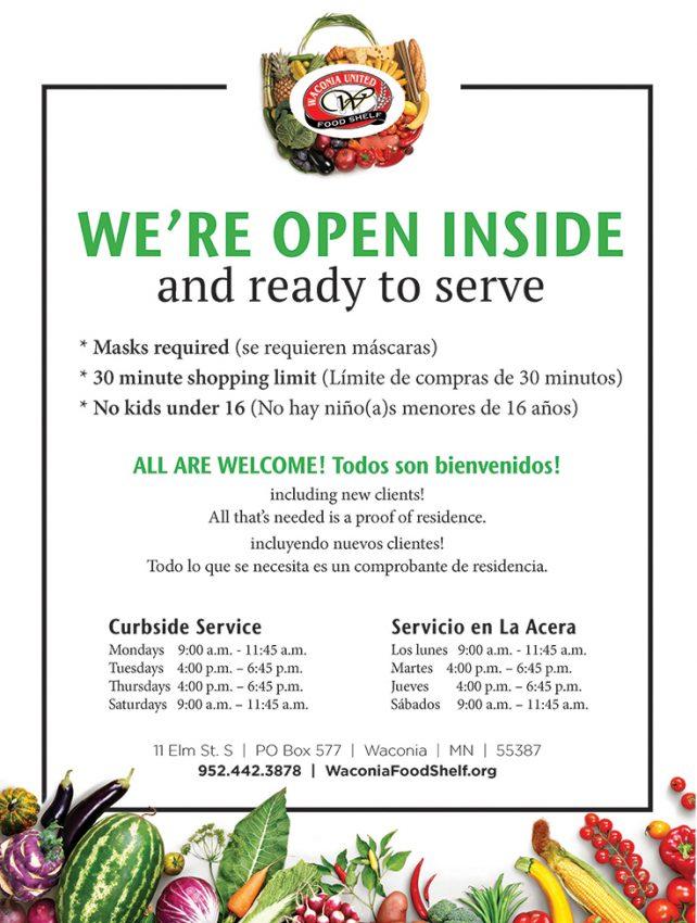 The Waconia Foodshelf is Open For Inside Shopping